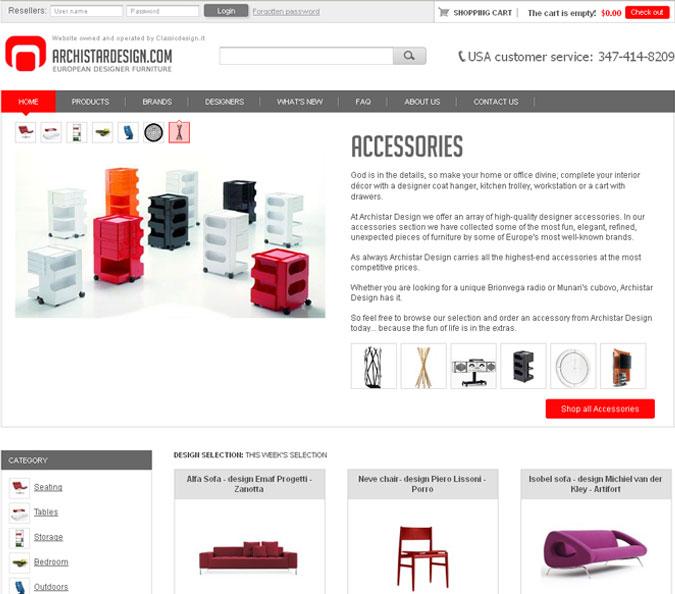 Sviluppo e realizzazione di siti per prodotti di design for Siti acquisto mobili online